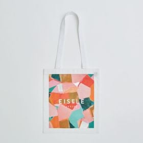 Wholesale Printed 5oz Dyed White Cotton Tote Bag with 45cm long Shoulder Straps