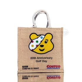 bear embroided jute shopping bags