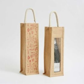 eye-catching printed one bottle jute bag laminated interior - Direct from No.1 Ethical bag Manufacturer of UK