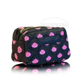 flower designed quilted makeup bag