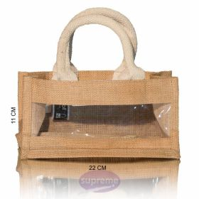 small jute bags with window