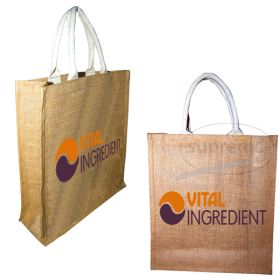 three bottle jute bags logo