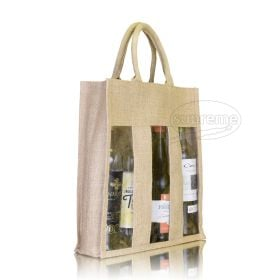 three bottle jute hessian bags