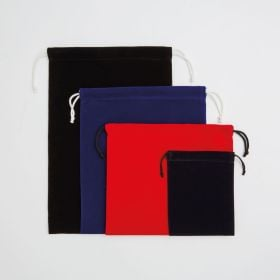 luxurious velvet drawstring bags from mini to small and medium to large from an Ethical manufacturer in UK