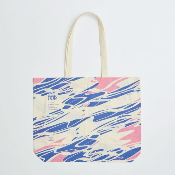 printed 11oz natural cotton beach bag with long handles and bottom gusset