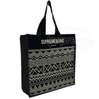 Cotton shopper bag with gusset and long handles