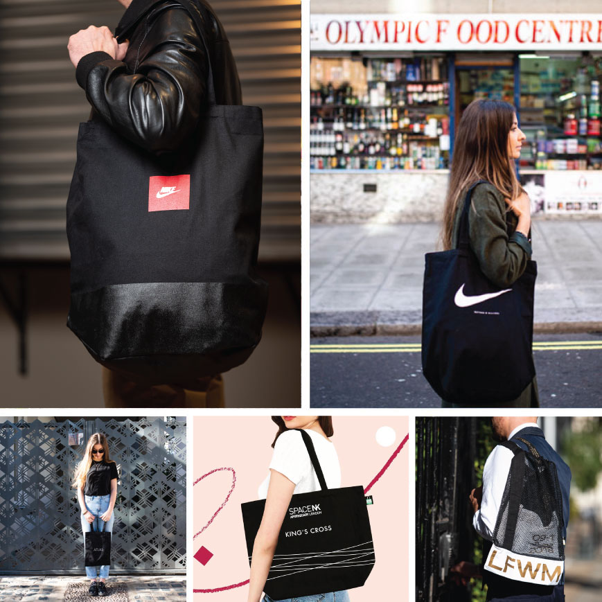 Any Shape, Any Size, black tote bags