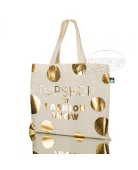 Small cotton tote bag with short handle